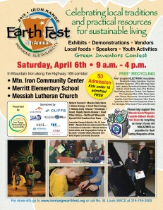 Iron Range Earth Fest April 6th, 2013 in Mt. Iron from 9am-4pm